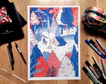 Camp Vibes - Risograph Print Limited Edition A3 Illustration in Red & Blue Ink