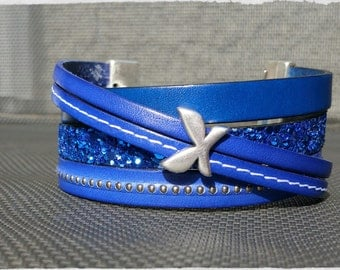 Cobalt leather cuff