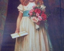 Victorian 'Girl With Flowers' Birthday Greeting Card Young Girl Holding A Bouquet of Flowers Victorian Greetings