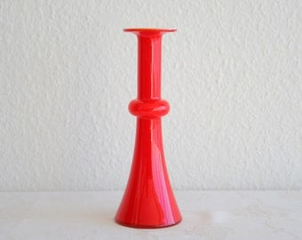 Vintage Kastrup Holmegaard CARNABY Red Cased Glass Vase PER LUTKEN Danish Design Modern Denmark Artglass Handmade 1960s Mid Century Modern
