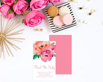 Floral Me Pretty Watercolor Floral Business Card. Calling Card. Florist Business Card. Small Business. Business Card.