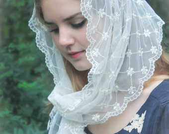 Evintage Veils~ Our Lady Ivory Victorian Lace Vintage Inspired Lace Chapel Veil Mantilla
