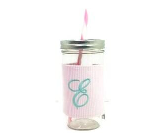Pink Seersucker Personalized Tumbler, Seersucker Monogram, Personalized Tumbler, Mason Jar Seersucker, Mason Jar Tumbler, Unique Gift