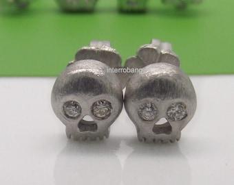 Men's stud earrings, antarctic diamond skull stud earrings, stud earrings, sterling silver earrings, small stud earrings, silver studs