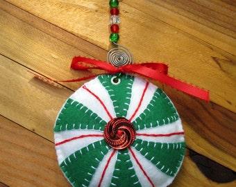 Wool Felt Green Peppermint Ornament with Beaded Hanger