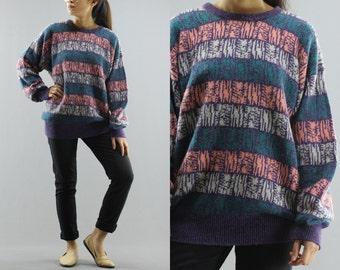 Geometric Colorful Striped  Knit Pullover Sweater / Jumper By Brian MacNiel Sportswear Mens Sized Medium 80's Vintage