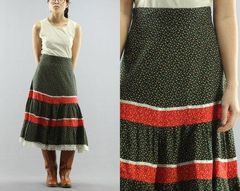 High Waist Tiered Lace Calico Floral Midi Prairie Skirt Size 1 Small XS Women's 70s Vintage