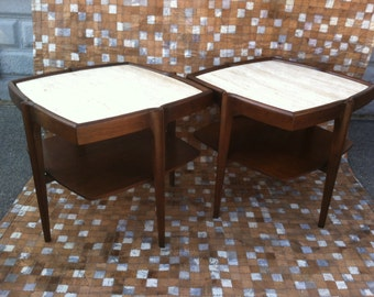 Mid Century Tables Italian Travertine Marble Tables Bertha Schaefer Gio Ponti New York Walnut End Tables Pair Modern