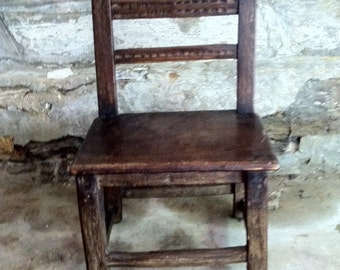 ANTIQUE FRENCH CHAIR Vintage Frech Carved Primitve wooden Chair Low Chair Side Chair 18th Century French Country Chair French Farmhouse