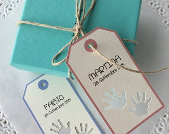 """Tagged christening party favors """"handprint"""""""