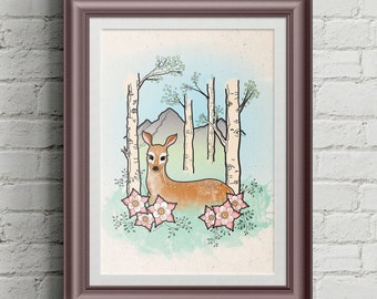 Deer Woodland Print | Wall Decor | Woodland Nursery Decor
