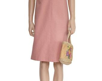 Women's Dress, Talbot Pink V Neck Dress, Vintage Dress, Cotton Dress,  A-Line Dress, 1990s Dress, Knee Length Dress, Day Dress, Summer Dress