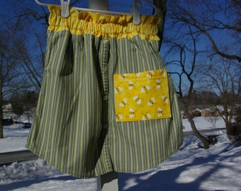 Upcycled Bumble Bee Skirt, Girls size 7 / 8 / 9