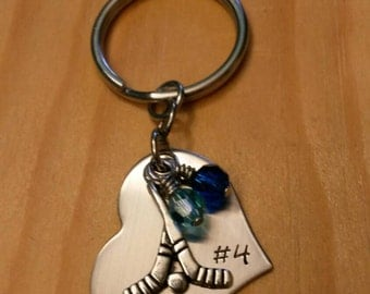 Hand Stamped Personalized Field Hockey Keychain - Girls Field Hockey Heart Keychain -  Field Hockey Gift - Team Colors