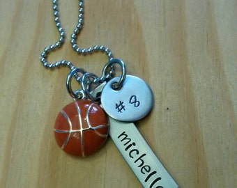 Hand Stamped Basketball Necklace - Girls basketball Necklace -  Basketball Team Gift -