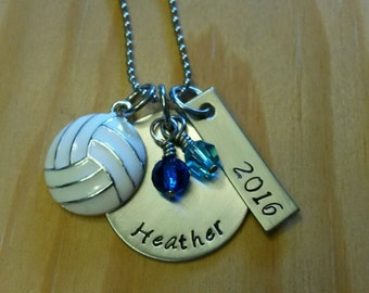 Hand Stamped Volleyball Necklace - Personalized Volleyball Necklace - Volleyball Team Gift - Pick Team Colors -  Volleyball Gifts