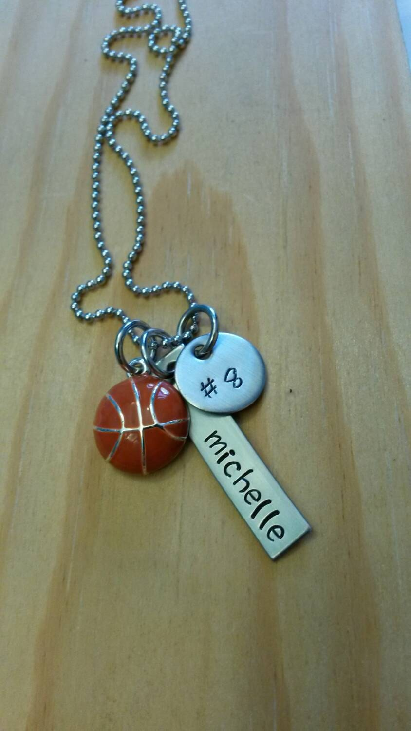 Hand stamped basketball necklace girls basketball necklace for How do you make hand stamped jewelry