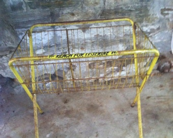 INDUSTRIAL WIRE BASKET Mid Century Wire Store Display Basket Yellow Painted Wire Basket Industrial Mercantile Warehouse Storage Vintage