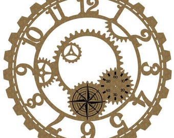 "Large Steampunk Clock 6"" Laser Cut Chipboard FREE SHIPPING! in US and Canada"