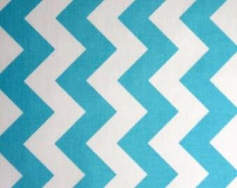 "20"" x 20"" LAMINATED Cotton Fabric Aqua & White Medium CHEVRON by Riley Blake Designs"