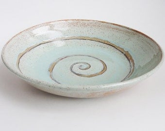 Stoneware Hand-thrown Ceramic Fruit Bowl. Mint Green with Spiral. In stock