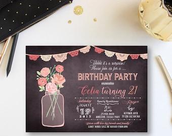 floral birthday Party Invites, adult birthday Party Invitations, Bouquet Birthday  party Invitation, Bouquet Adult Birthday invitation, FL