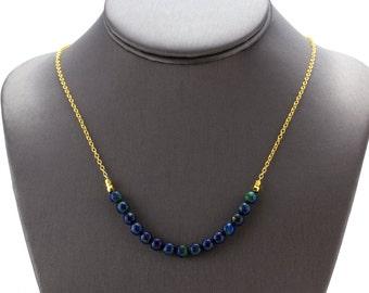 Azurite Necklace/ Azurite Jewelry/ Blue Green Necklace/ Blue Azurite Beads/ Gold Azurite