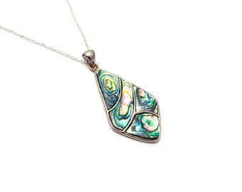 Abalone Necklace/ Silver Paua Pendant/ Silver Abalone Shell/ Paua Shell Necklace/ Paua Shell Jewelry