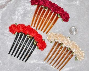 Satin Ribbon Rose Long Hair Comb Hair Fork, Color Choices