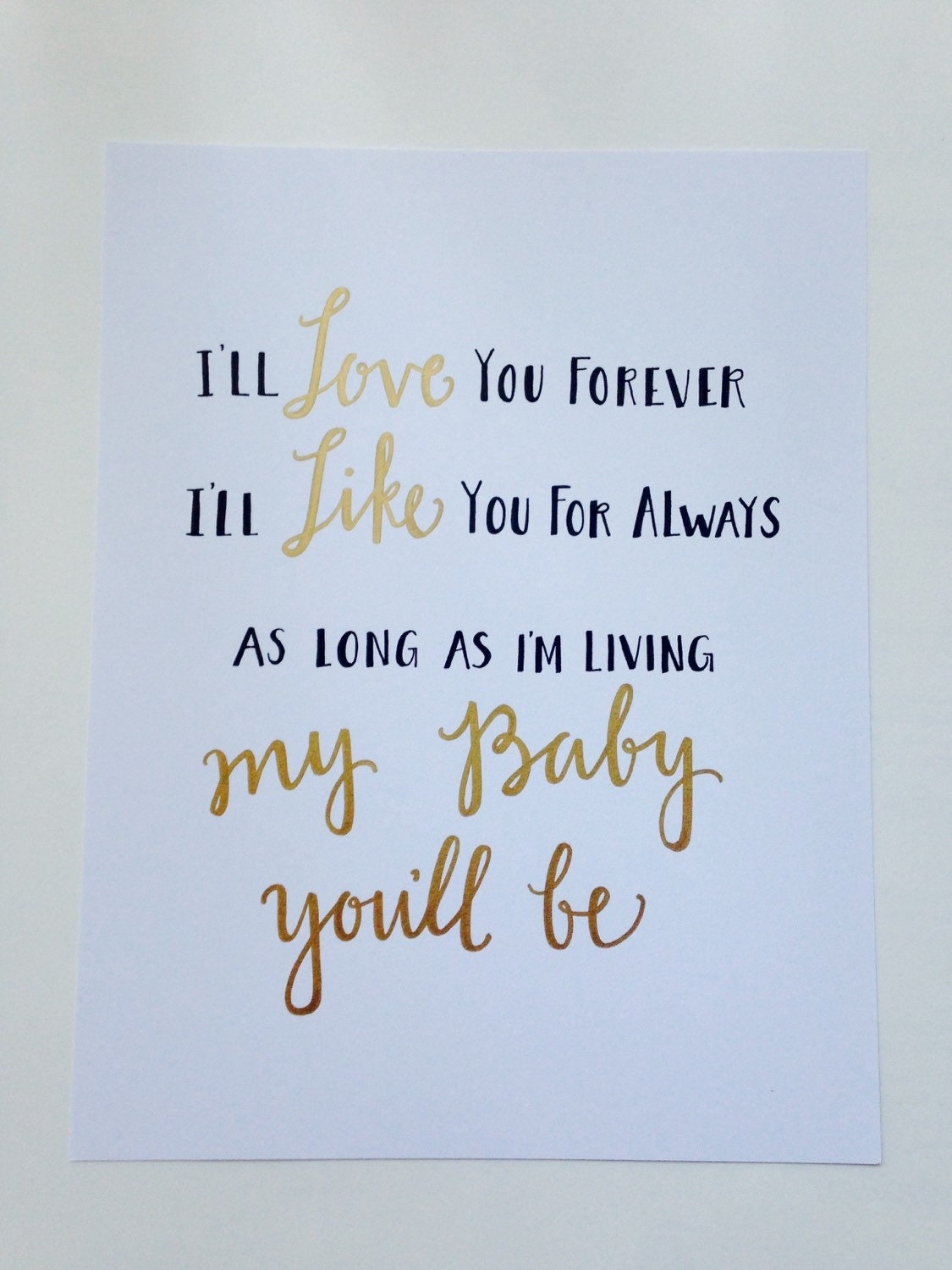 8.5x11 I'll love you forever Children's book quote |I Love You Forever Book Quotes