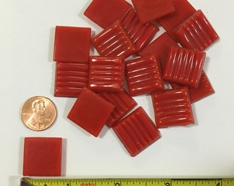 3/4'' Red Vitreous Glass Tile, Red Mosaic Tile