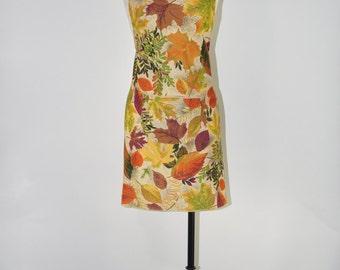 leaf print chef apron / harvest full bib apron / autumn handmade kitchen apron