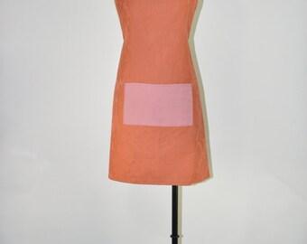 copper full bib apron / floral damask chef apron / handmade kitchen apron