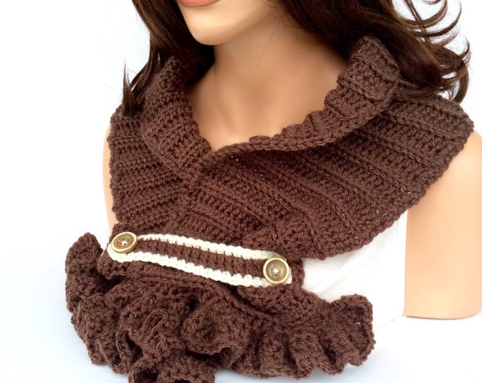 Brown Crochet Scarf with Ruffle, Chocolate Brown Winter Scarf for Women or Teens, Crochet Collar with Feminine Ruffles and Buttons