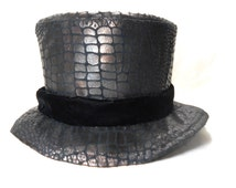 Steampunk Top Hat, Alligator Skin, Upcycled Material, Magicians Black Top Hat, Mens Formal Wear, Pimp Top Hat, Tuxedo Hat, Zoot Suit Top Hat