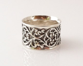 Sterling Silver Ring, Silver Filigree Ring, Filigree Ring, Wide Band, Celtic Ring, Mixed Metal Ring