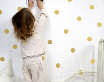 Large Gold dots wall stickers, Dots wall stickers, Polka Dot Wall Decor