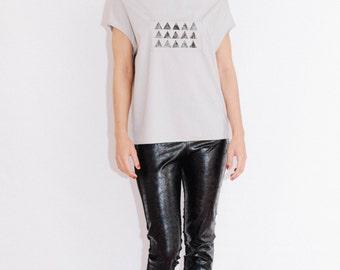 hand printed top/ unique top/ unique blouse/ modern top/ oversized blouse