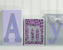 Personalized Name Block Letters, Custom Wood Name Blocks, Routed Edge, Bedroom Decor, Baby Blocks, Purple, Gray, Leopard, Zebra