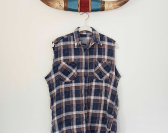 Medium Vintage Flannel Plaid Button Down With Cut Off Sleeves, Navy And Brown Plaid, Not Mystery Flannel