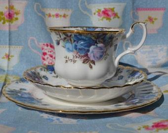 Royal Albert Moonlight Rose, Trio- Tea Cup, Saucer, 7 inch LargerTea Plate, Vintage English China, Blue Roses and Gilt for Tea Set
