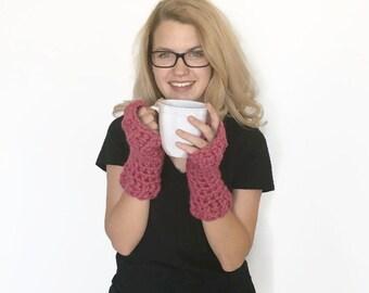 Pink Chunky Fingerless Gloves -  Fingerless Gloves - Chunky Gloves - Chunky Arm Warmers - Wrist Warmers - Gifts Under 30 - Raspberry