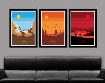 Force Inspired - Skyline Series 2 - Star Wars Inspired Minimalist Poster Set Edition I, II & III of VII - Prints 152 - Home Decor