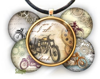 """Motorcycles Old Style (Steampunk idea) - bottle cap images - 1'' circles, 25mm, 30mm, 1.25"""", 1.5"""" for Jewelry Making, BUY 2 GET 1 FREE"""