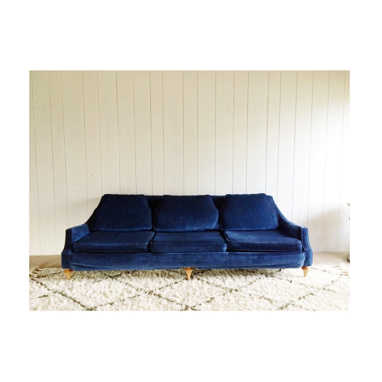 Retro navy blue velvet couch by midcenturyteak on etsy - Navy blue velvet sofa ...