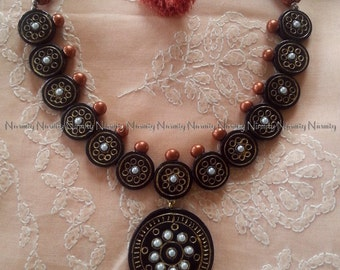 Black and copper terracotta jewelry-two tone temple jewelry set-terracotta jewellery necklace set-clay jewelry
