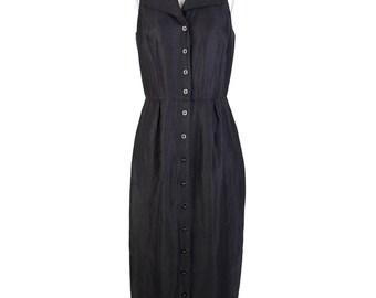Vintage Linen Maxi Sleeveless Shirt Dress / Black / Minimalist / S