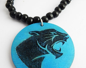 Black Panther Necklaces Beaded Jewelry Panther Blue Panther Wood Panther Pendant Mens Hip Hop Necklace African Big Cat  Wood Beaded Jewelry
