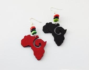 Africa Earring Jewelry Africa Afrocentric Earrings African Ethnic Cute Wood Earrings Red Black Wood Jewelry Clip on Earrings Sterling Silver