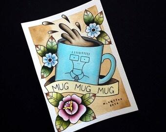 Descendents Milo Coffee Mug  Tattoo Flash Print by Michelle Coffee